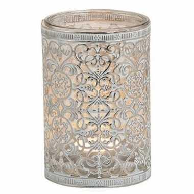 Waxinelicht/theelicht houder zilver antiek 12 cm