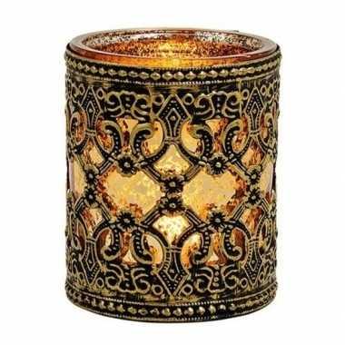 Waxinelicht/theelicht houder zwart/goud antiek 10 cm