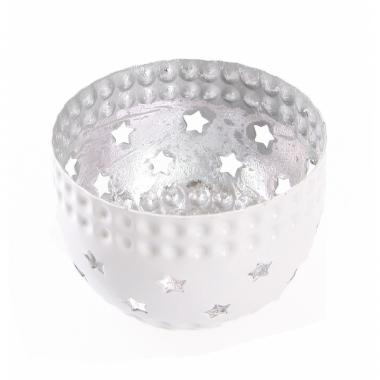 Waxinelichthouder met sterren zilver