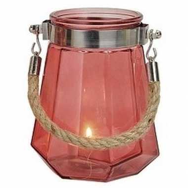 Waxinelichthouder windlicht rood 14 cm