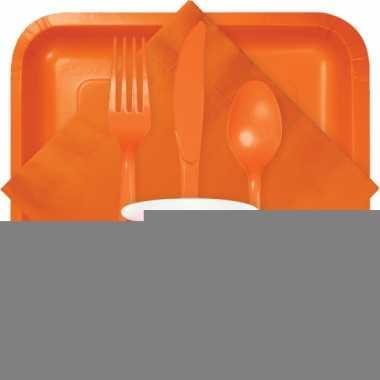 Wegwerp bekers oranje 8 stuks