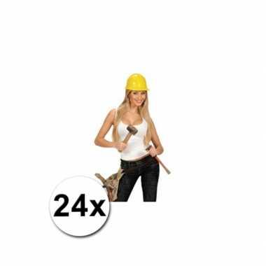 Werkhelmen geel volwassenen 24 st
