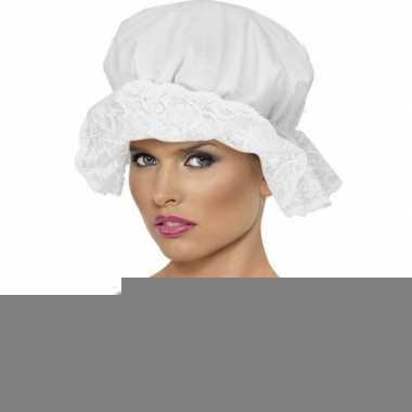 Werkster muts wit voor dames