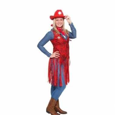 Western rood cowgirl kostuum voor dames
