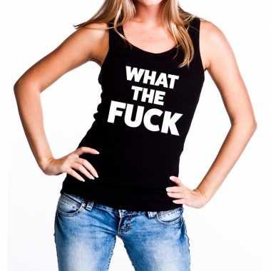 What the fuck tanktop / mouwloos shirt zwart dames