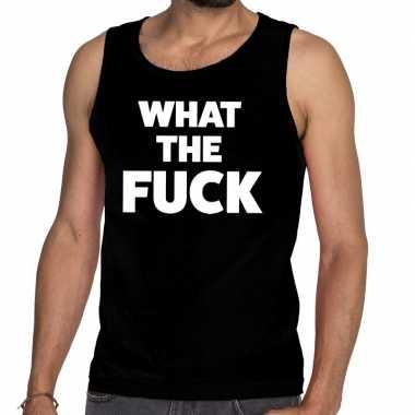 What the fuck tanktop / mouwloos shirt zwart heren
