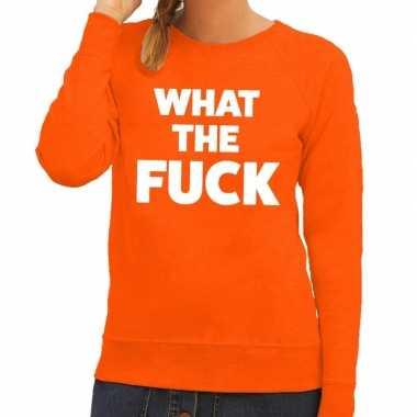 What the fuck tekst sweater oranje voor dames