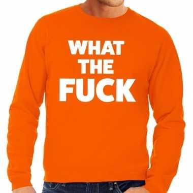 What the fuck tekst sweater oranje voor heren