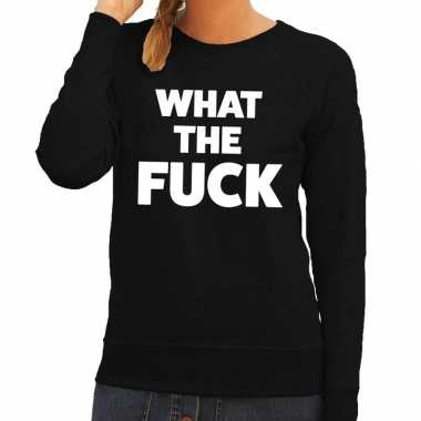 What the fuck tekst sweater zwart voor dames