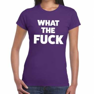 What the fuck tekst t-shirt paars dames