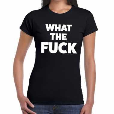 What the fuck tekst t-shirt zwart dames