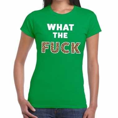What the fuck tijger print tekst t-shirt groen dames