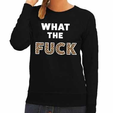 What the fuck tijgerprint tekst sweater zwart voor dames