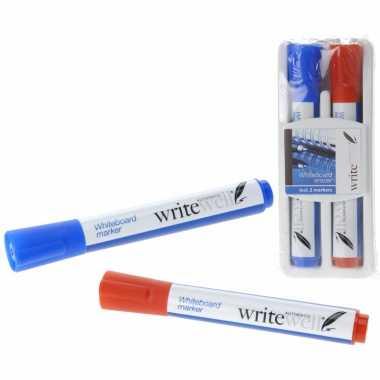 Whitetboard stiften rood en blauw met wisser