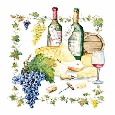 Wijn/kaas print servetten 20 stuks