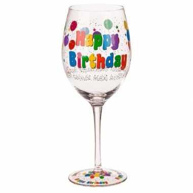 Wijnglas happy birthday 24,5 cm