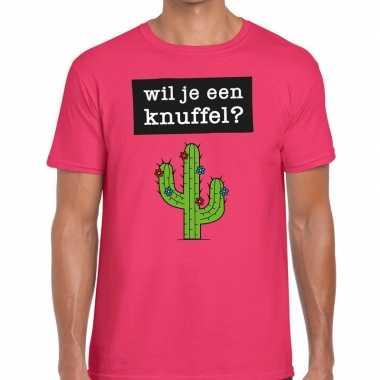 Wil je een knuffel tekst t-shirt roze heren