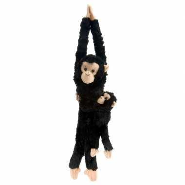 Wild republic pluche hangende aap zwart 43 cm