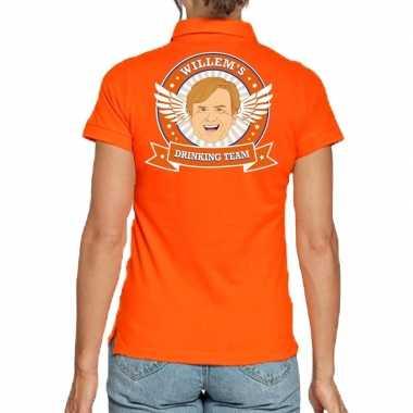 Willems drinking team poloshirt oranje voor dames