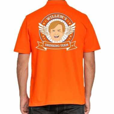 Willems drinking team poloshirt oranje voor heren