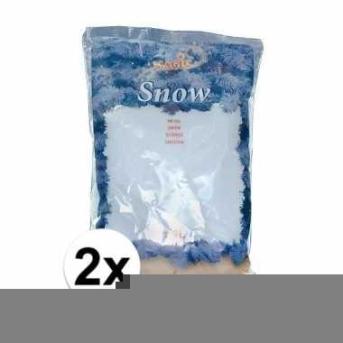 Winter thema deco kunstsneeuw 2x zakken