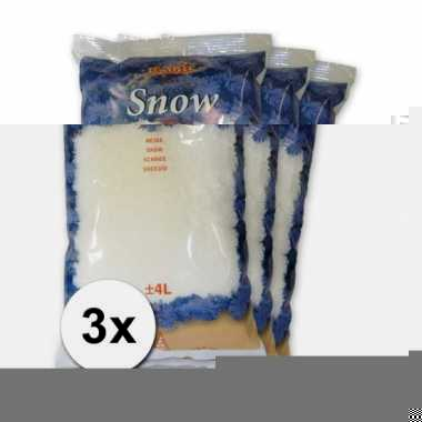 Winter thema deco kunstsneeuw 3 zakken