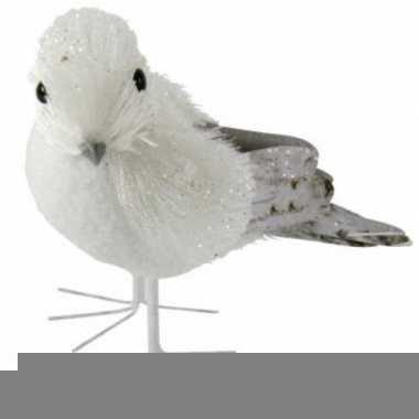 Winterdecoratie vogel met glitters type 2
