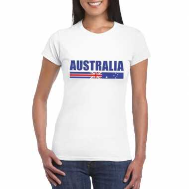 Wit australie supporter t-shirt voor dames