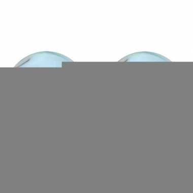 Wit blauwe glazen knikkers 2 stuks