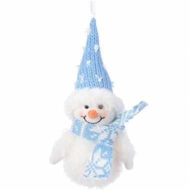 Wit/blauwe sneeuwpop type 1 kerstversiering hangdecoratie 20 cm