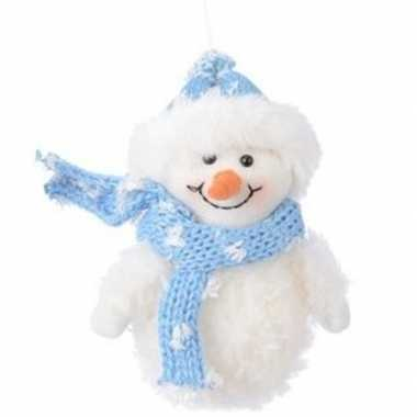 Wit/blauwe sneeuwpop type 2 kerstversiering hangdecoratie 14 cm