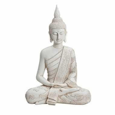 Wit boeddha beeld zittend 40 cm