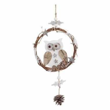 Wit/bruine rotan uil type 1 kerstversiering hangdecoratie 32 cm