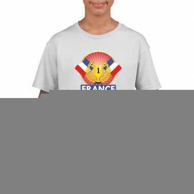Wit frankrijk supporter kampioen shirt kinderen