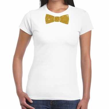 Wit fun t-shirt met vlinderdas in glitter goud dames