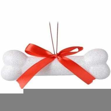Wit glitter hondenbotje kerstversiering hangdecoratie 14 cm
