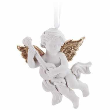 Wit/goud engeltje met lute kerstversiering hangdecoratie 8 cm