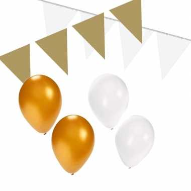 Wit/gouden feest versiering pakket small