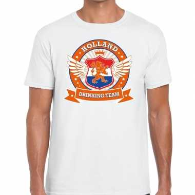 Wit holland drinking team t-shirt heren