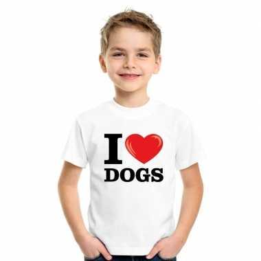 Wit i love dogs/ honden t-shirt kinderen