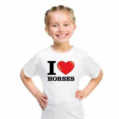 Wit i love horses/ paarden t-shirt kinderen