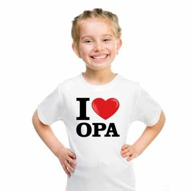 Wit i love opa t-shirt kinderen