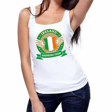 Wit ireland drinking team tanktop / mouwloos shirt dames