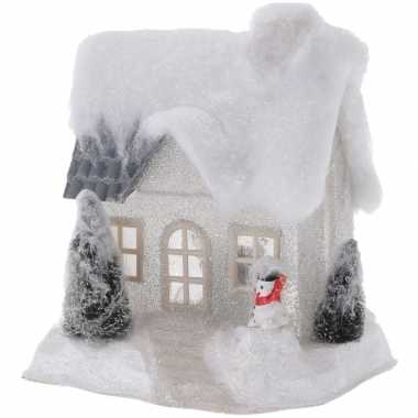Wit kerstdorp huisje 20 cm type 2 met led verlichting