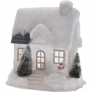 Wit kerstdorp huisje 25 cm type 1 met led verlichting