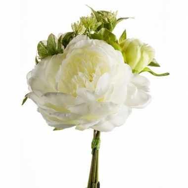Wit kunstbloemen boeket 20 cm pioenroos/dille