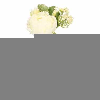 Wit kunstbloemen boeket met vaas 20 cm pioenroos/dille