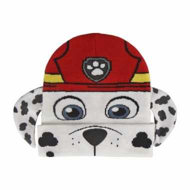 Wit/rode paw patrol muts marshall voor meisjes