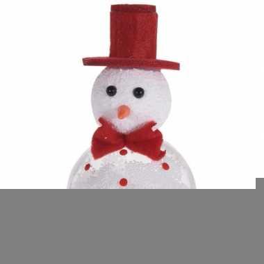 Wit/rode sneeuwpop kerstversiering hangdecoratie 12 cm