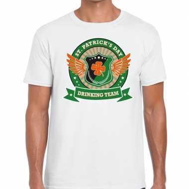 Wit st. patricks day drinking team t-shirt heren